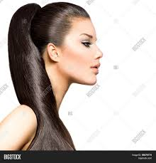 hair for straight hair a big nose ponytail hairstyle beauty brunette image photo bigstock