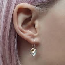 earrings on ear heart earrings all kinds of jewellery