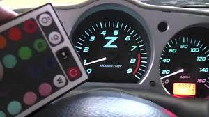 nissan 350z dash kit 350z custom gauge cluster with twenty color changing rgb leds and