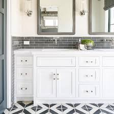 Gray Subway Tile Bathroom by Master Bathroom Featuring White Cabinets Wall Faucets Gray