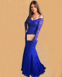 turmec royal blue long sleeve prom dresses