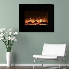 northwest 25 in mini curved electric fireplace with wall and
