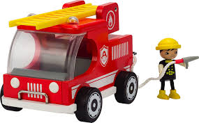 wooden truck amazon com hape classic fire truck toddler wooden play set toys