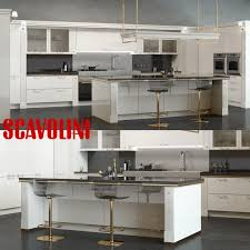 scavolini baccarat kitchen white 3d model cgtrader