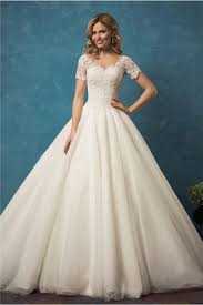 gown v neck sheer back short sleeve tulle lace wedding dress with