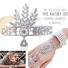 great gatsby headband 1920s great gatsby headpiece bracelet ring set bridal flapper