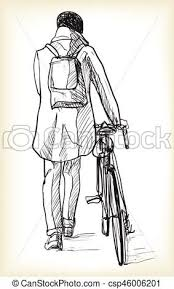 vector clipart of sketch of bicycle rider in berlin free hand