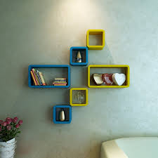 Home Decor Nation Wall Shelf Rack Set Mounted Shelves Sky And Yellow