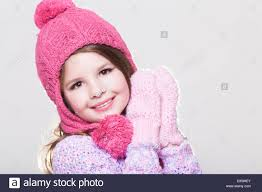 happy little child in winter clothes cute baby in woolen