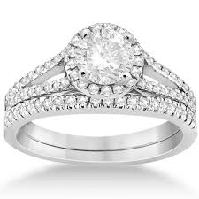14k white gold wedding band halo diamond engagement ring wedding band 14k white gold
