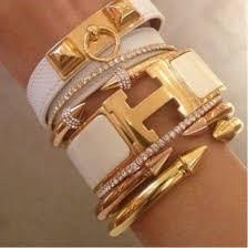 hermes bracelet white images Jewels gold white diamonds leather bracelet stacked bracelets jpg