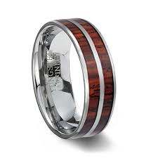wooden wedding bands tungsten carbide ring two wood inlays wood wedding ring