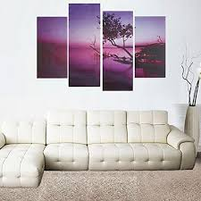 Canvas Without Frame Generic 4pcs Modern Art Purple Tree Oil Painting Canvas Prints