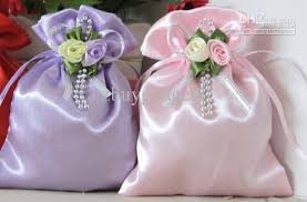 favor bags for wedding multi color satin wedding favor bag with flowers and ribbons