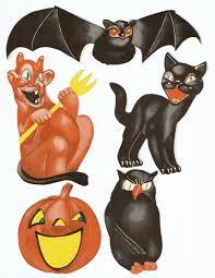 Vintage Halloween Owl by Vintage Halloween Die Cut Collage Bat Black Cat Devil Owl Digital