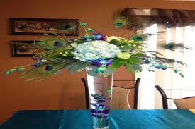 peacock feather table centerpieces by jollythingsforyou on etsy
