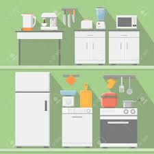kitchen tools and equipment flat vector kitchen with cooking tools equipment and furniture