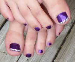 purple toe nail art with rhinestones tip design toe nail tip