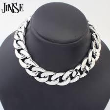 chunky chain choker necklace images Jinse bls010 punk style cut ccb link chain choker chunky shiny jpg