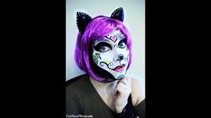 kitty sugar skull halloween makeup youtube