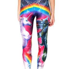 Comfortable Trousers For Women Unicorn Robot Dinosaur And Rainbow Digital Print Leggings For