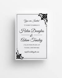 elegant black u0026 white printable wedding invitation peculiar
