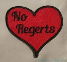 Meme Heart - embroidered no regerts no regrets red tattoo heart love funny meme