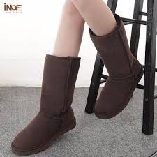 suede high snow boots for women winter shoes sheepskin leather fur