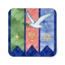 watercolor peace christmas kwanzaa hanukkah square sticker xmas