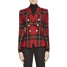 balmain double breasted plaid wool jacket women u0027s jackets