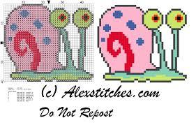 gary spongebob snail free cross stitch pattern free cross