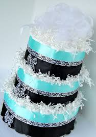 diaper cake light turquoise blue u0026 black damask bling baby