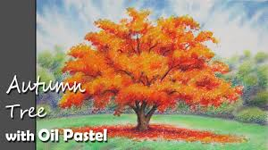 how to paint an autumn tree with oil pastel lesson 1 youtube