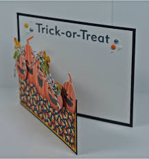 jack o lanterns all in a row on this handmade halloween card