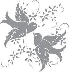 glass etching stencil of a pair of birds with flowers in category