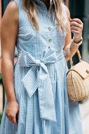 elizabeth mckay blue and white gingham dress u2014 bows u0026 sequins