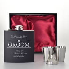 and groom flasks personalised hip flask top hat