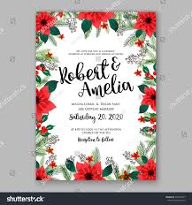 What To Write In A Wedding Invitation Card Poinsettia Wedding Invitation Sample Card Beautiful Stock Vector