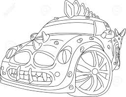 wrecked car drawing sport car dino tuning isolated on background royalty free cliparts