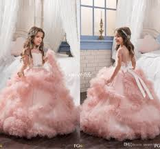 blush ball gown short sleeves flower dresses crystals puffy