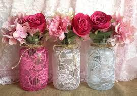 3 lace covered mason jar vases pink pink white wedding