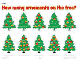how many ornaments on the tree free printable counting