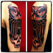 the pictures for u003e traditional owl skull tattoo