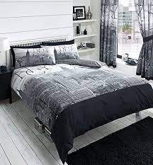 New York Bed Set New York City Skyline Black Grey Printed Duvet Cover Bed Set