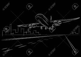 linear sketch plane taking off black background royalty free