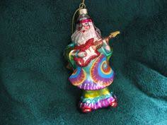 ksa pack of 6 retro santa tie die hippie playing guitar glass
