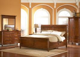 medium brown cherry traditional sleigh bed w optional case goods