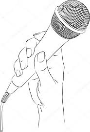 vector drawing of a hand holding a microphone u2014 stock vector