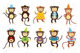 happy cartoon vector christmas monkey toys dancing party birthday
