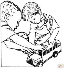 children sharing coloring page free download